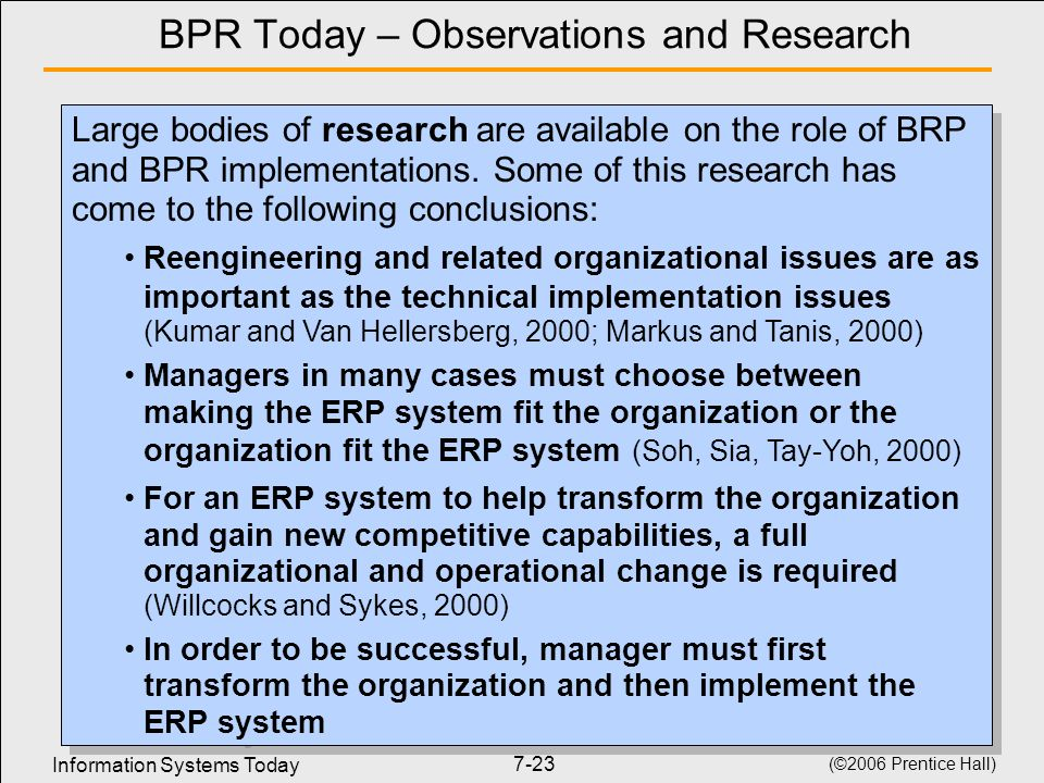 BPR Today – Observations and Research