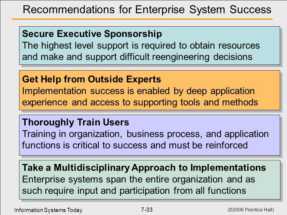 Recommendations for Enterprise System Success