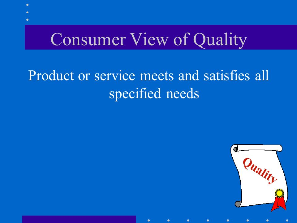 Consumer View of Quality