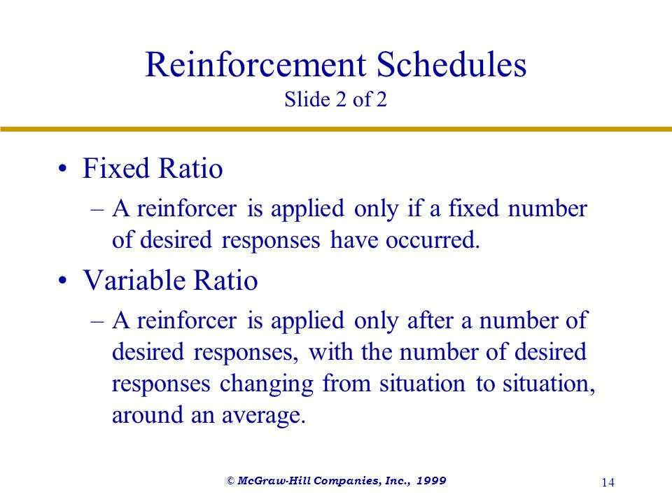 Reinforcement Schedules Slide 2 of 2