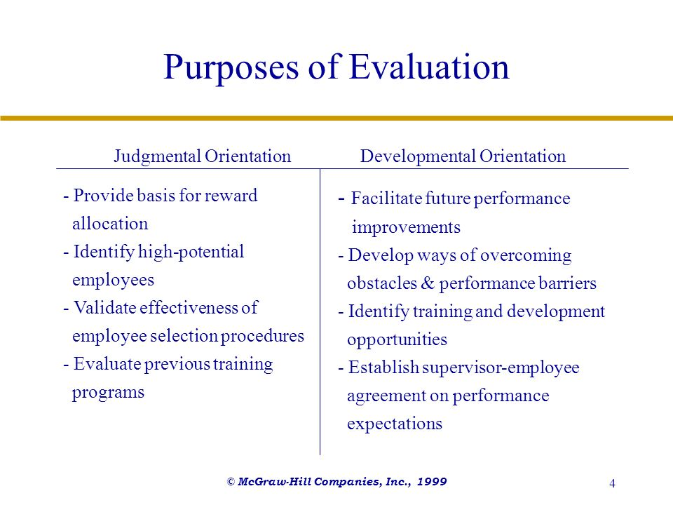 Purposes of Evaluation