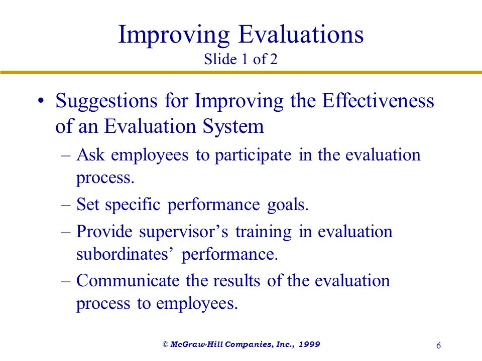 Improving Evaluations Slide 1 of 2
