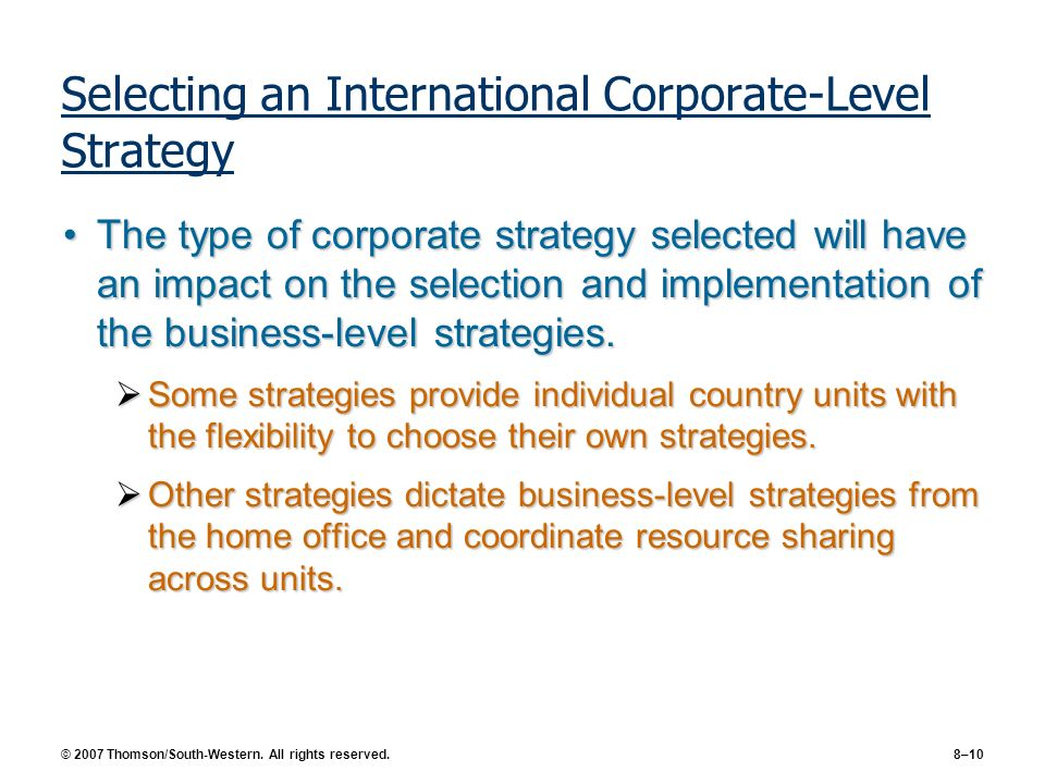Selecting an International Corporate-Level Strategy