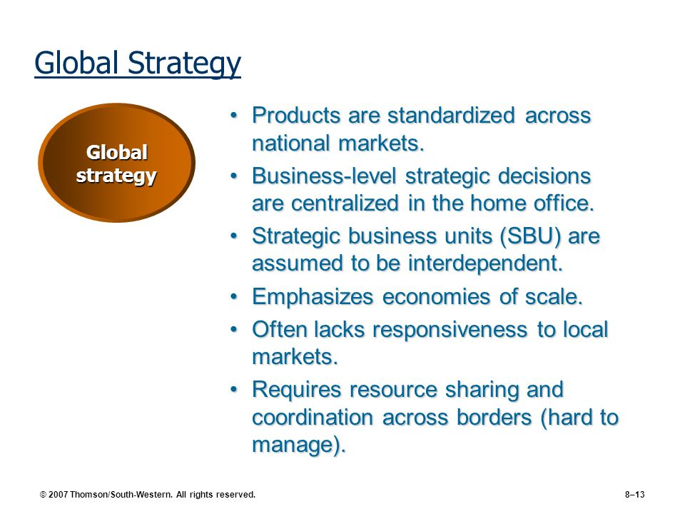 Global Strategy Products are standardized across national markets.