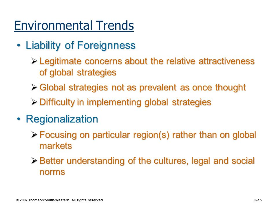 Environmental Trends Liability of Foreignness Regionalization
