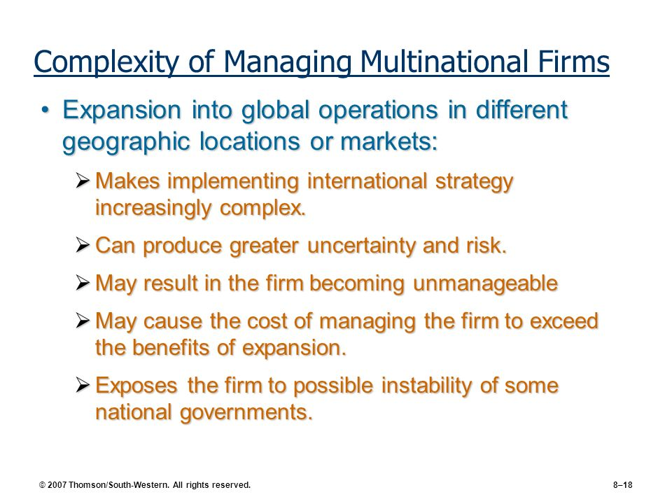 Complexity of Managing Multinational Firms