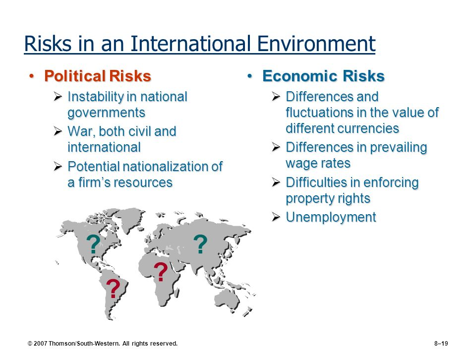 Risks in an International Environment