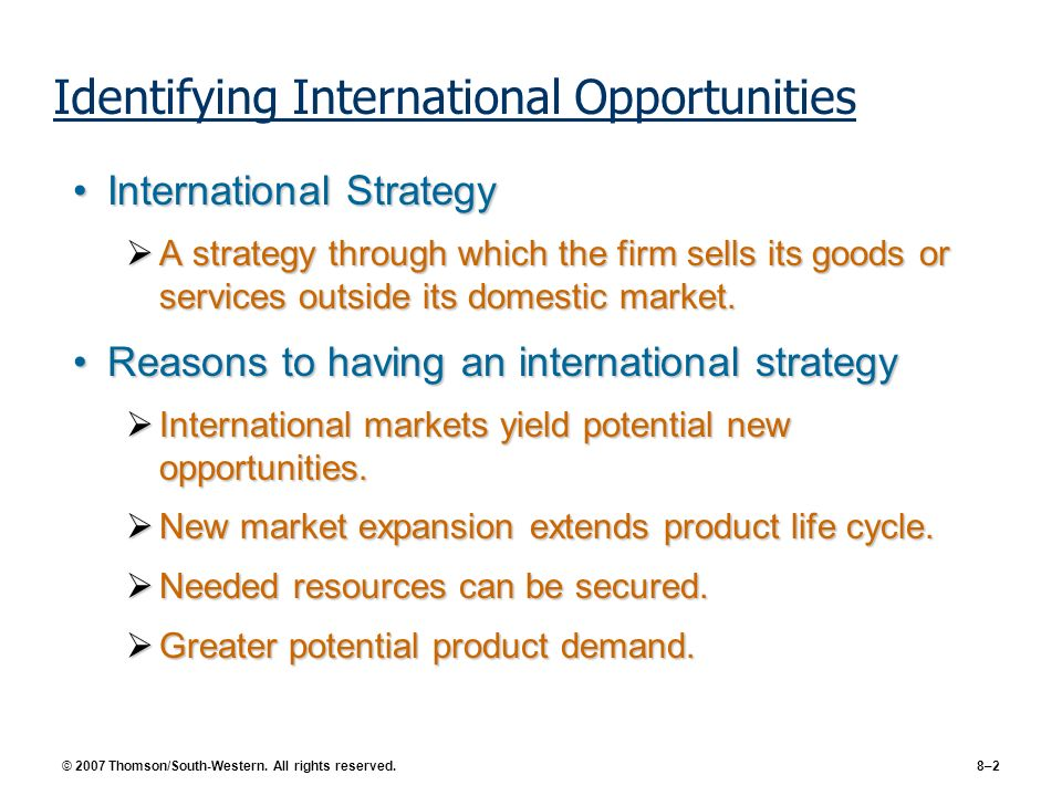 Identifying International Opportunities