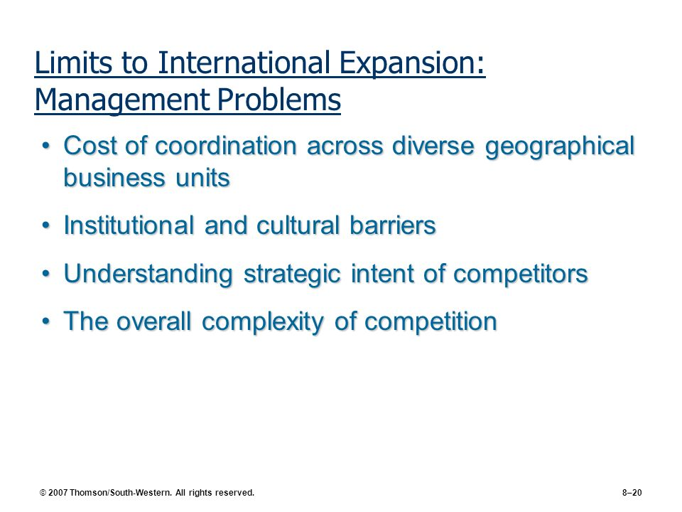 Limits to International Expansion: Management Problems
