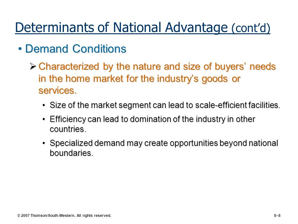 Determinants of National Advantage (cont'd)