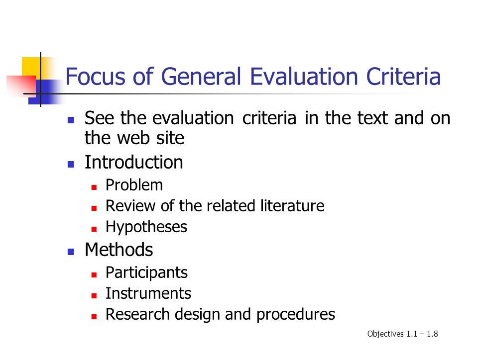Focus of General Evaluation Criteria