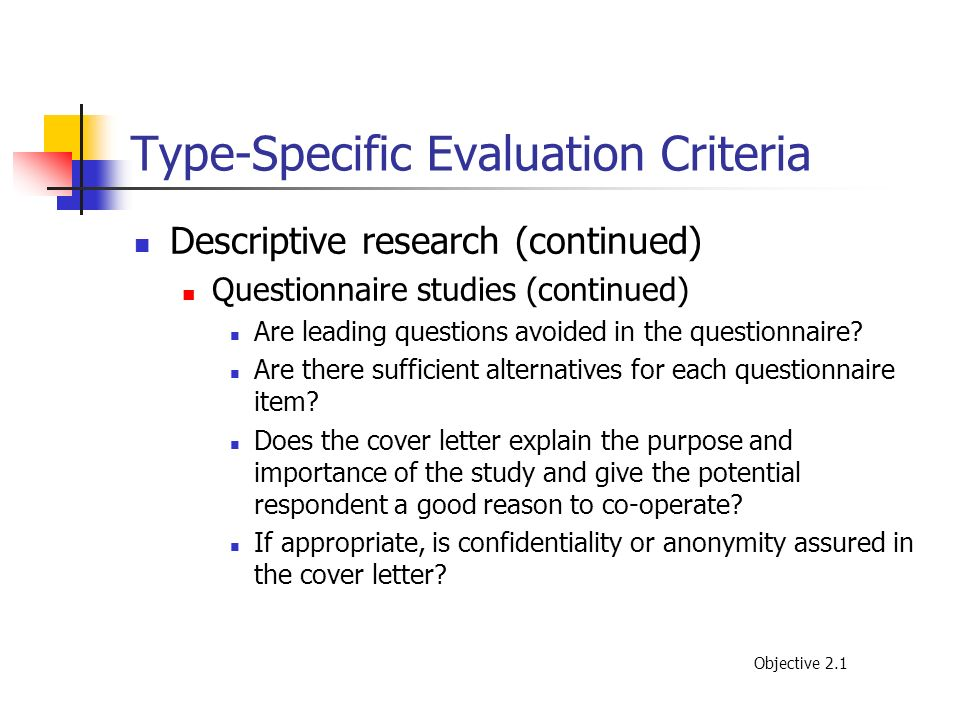 Type-Specific Evaluation Criteria