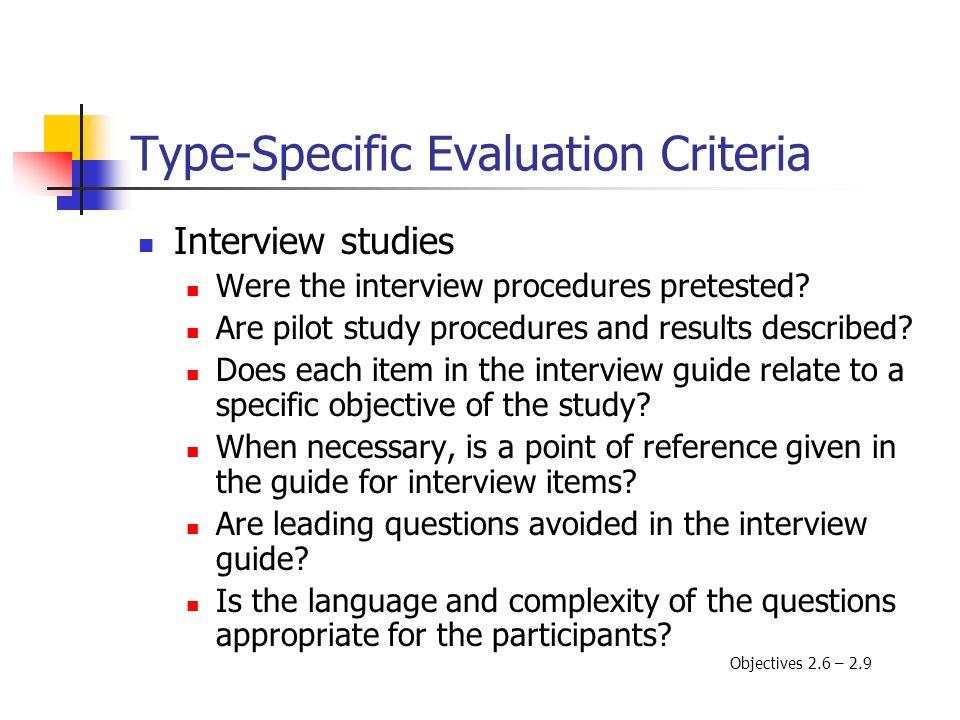 Type-Specific Evaluation Criteria