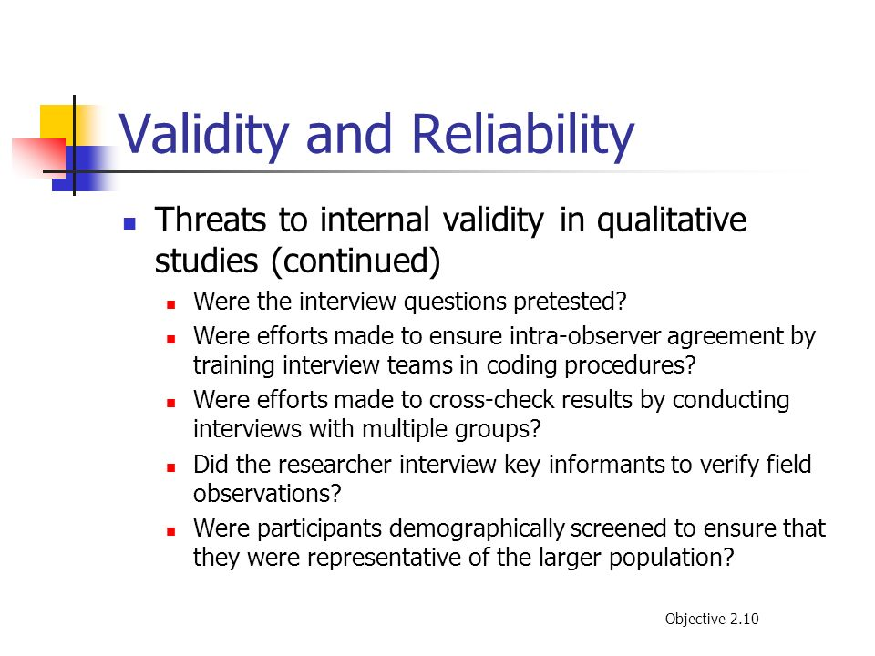 reliability and validility