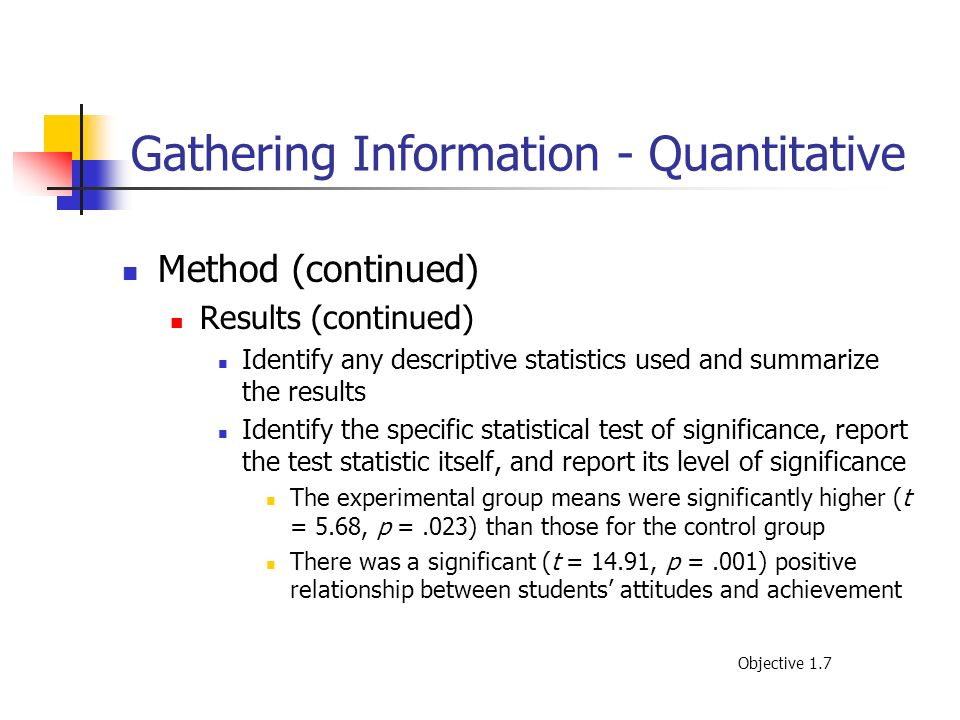 Gathering Information - Quantitative