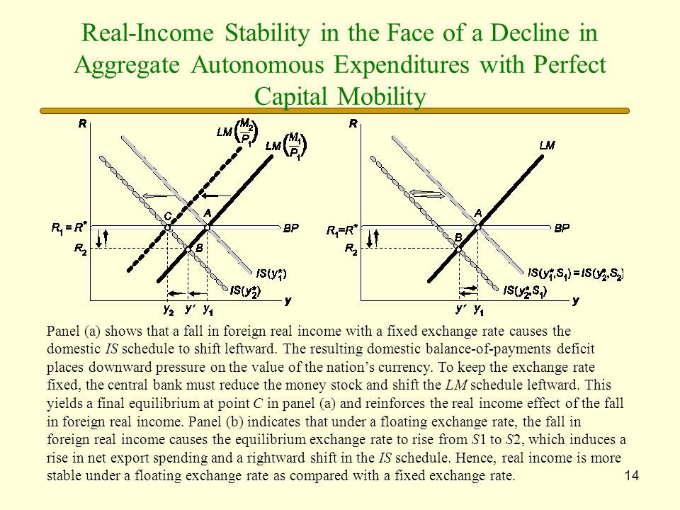 Real-Income Stability in the Face of a Decline in Aggregate Autonomous Expenditures with Perfect Capital Mobility