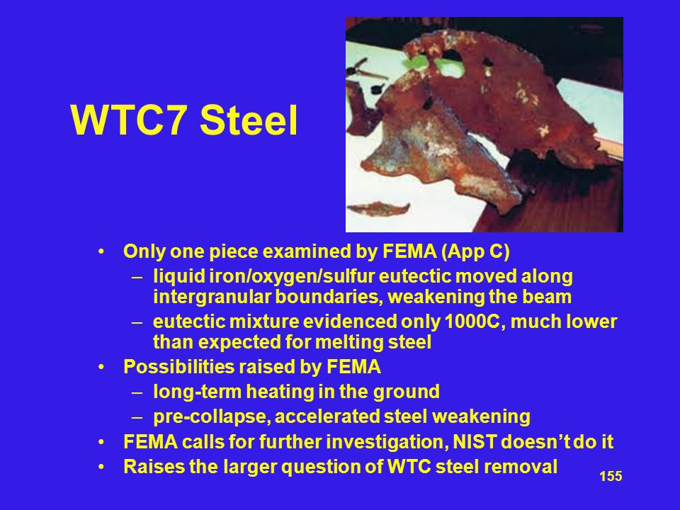 WTC7 Steel Only one piece examined by FEMA (App C)