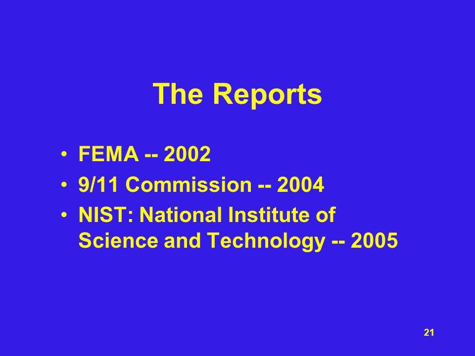 The Reports FEMA -- 2002 9/11 Commission -- 2004
