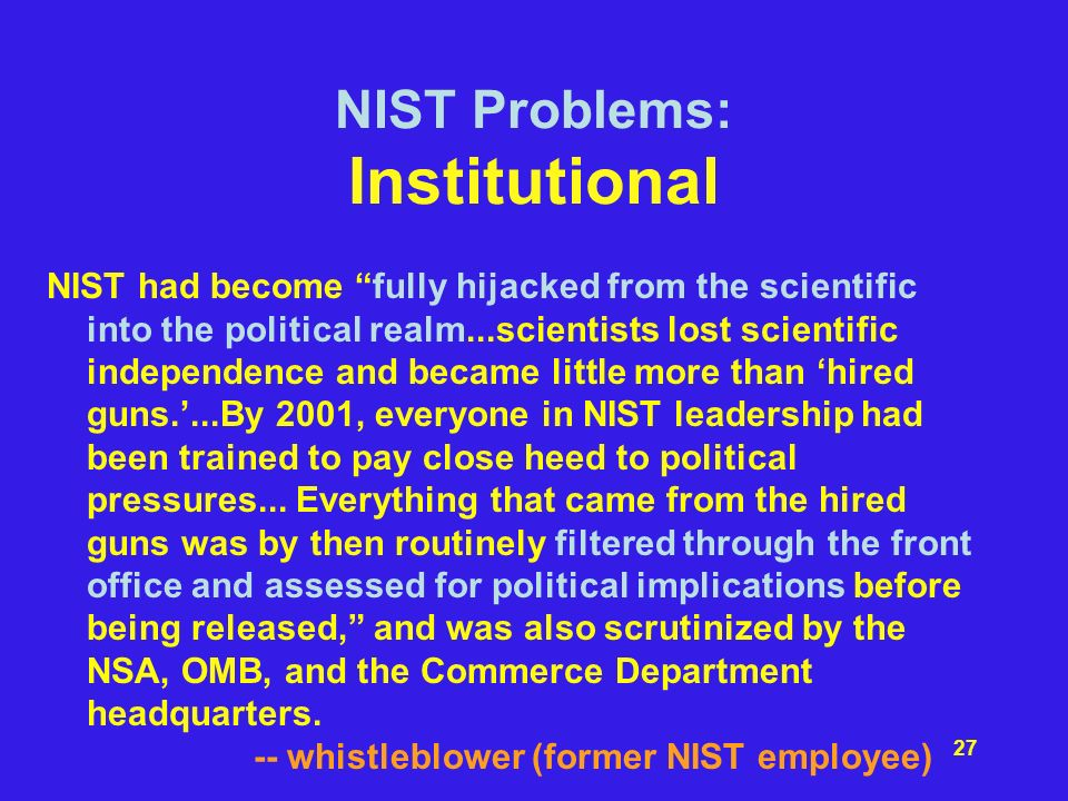 NIST Problems: Institutional