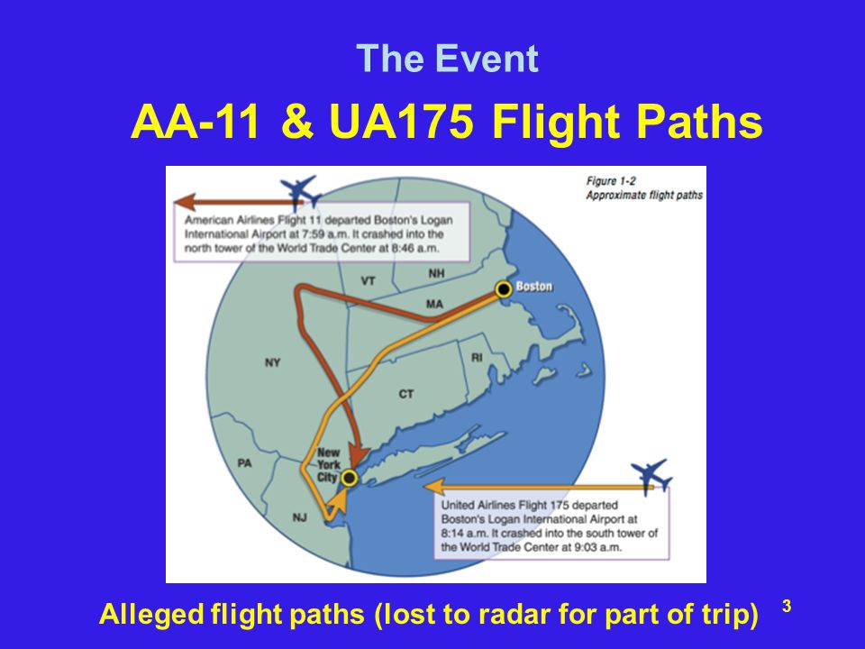 Alleged flight paths (lost to radar for part of trip)