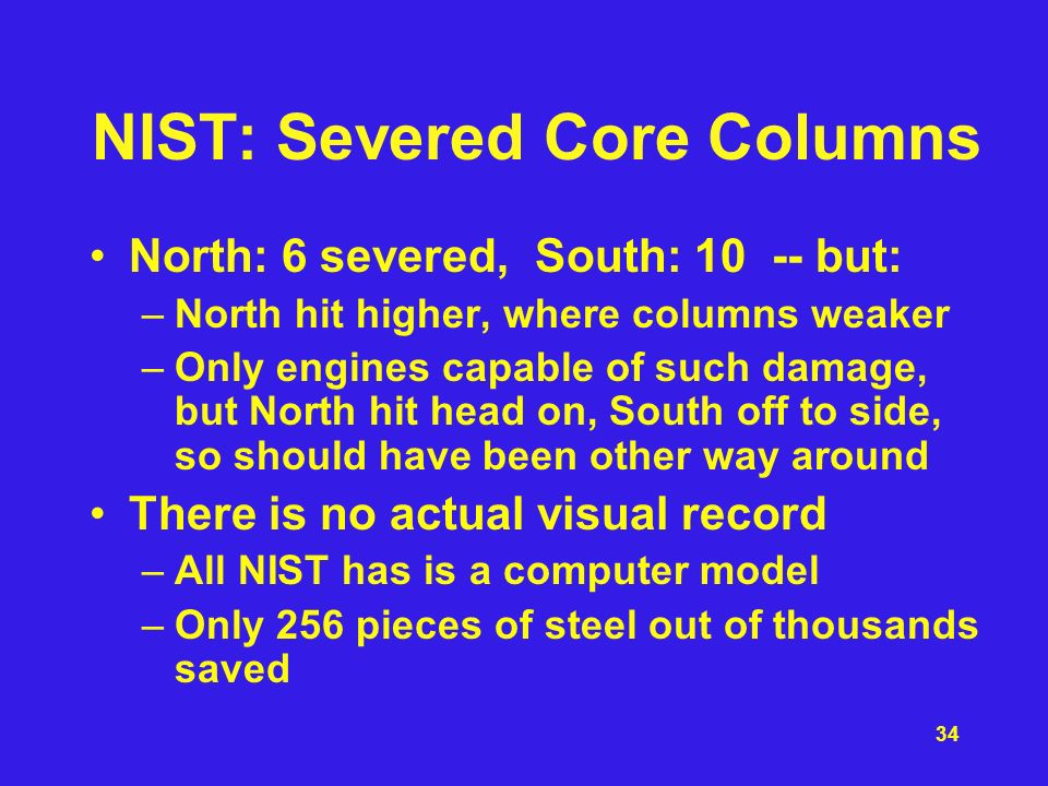 NIST: Severed Core Columns