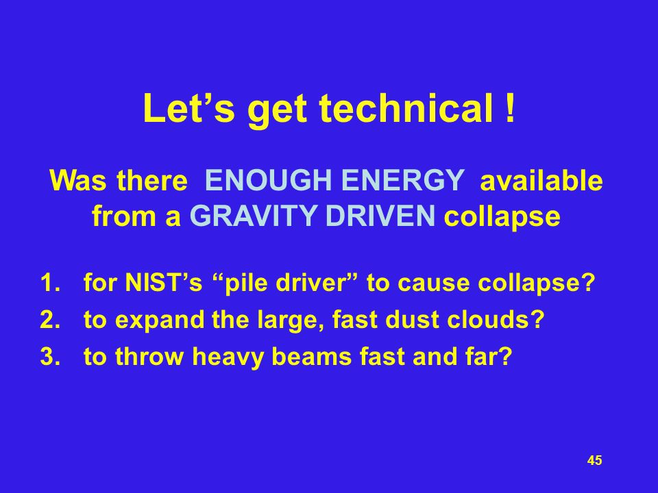 Was there ENOUGH ENERGY available from a GRAVITY DRIVEN collapse