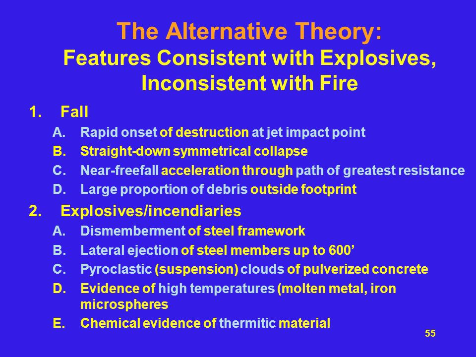 The Alternative Theory: Features Consistent with Explosives, Inconsistent with Fire