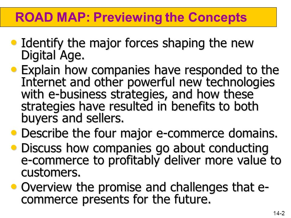 ROAD MAP: Previewing the Concepts