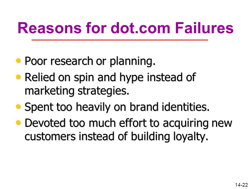 Reasons for dot.com Failures