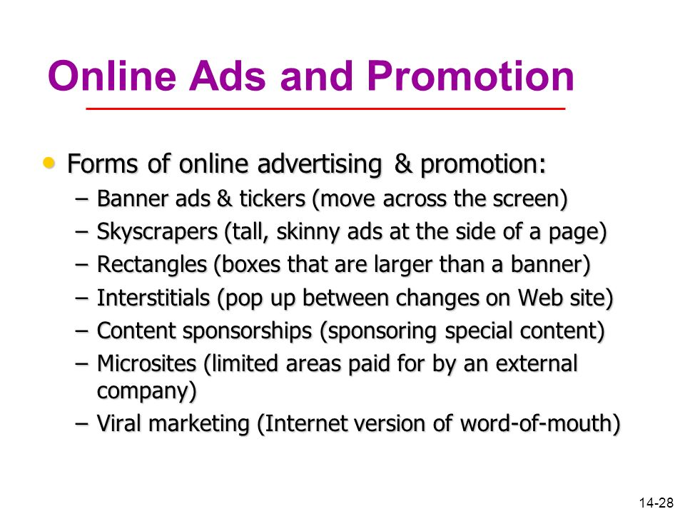 Online Ads and Promotion