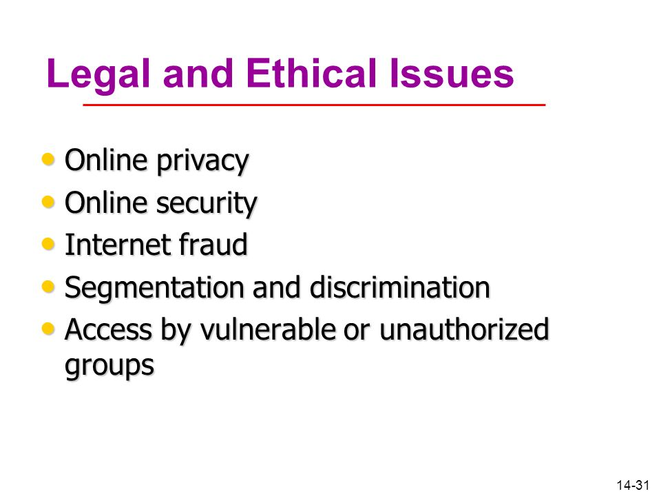 Online ethical legal and regulatory issues