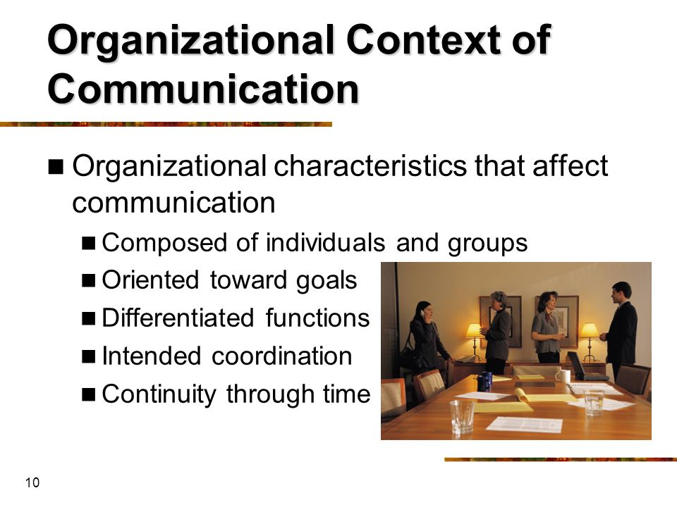 Organizational Context of Communication