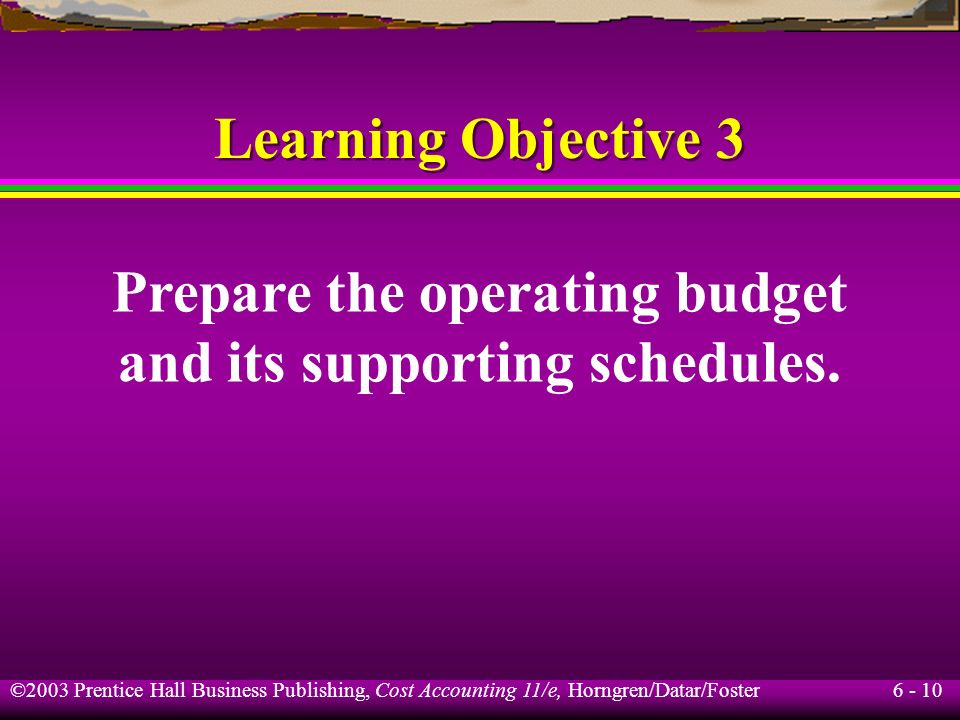Prepare the operating budget and its supporting schedules.