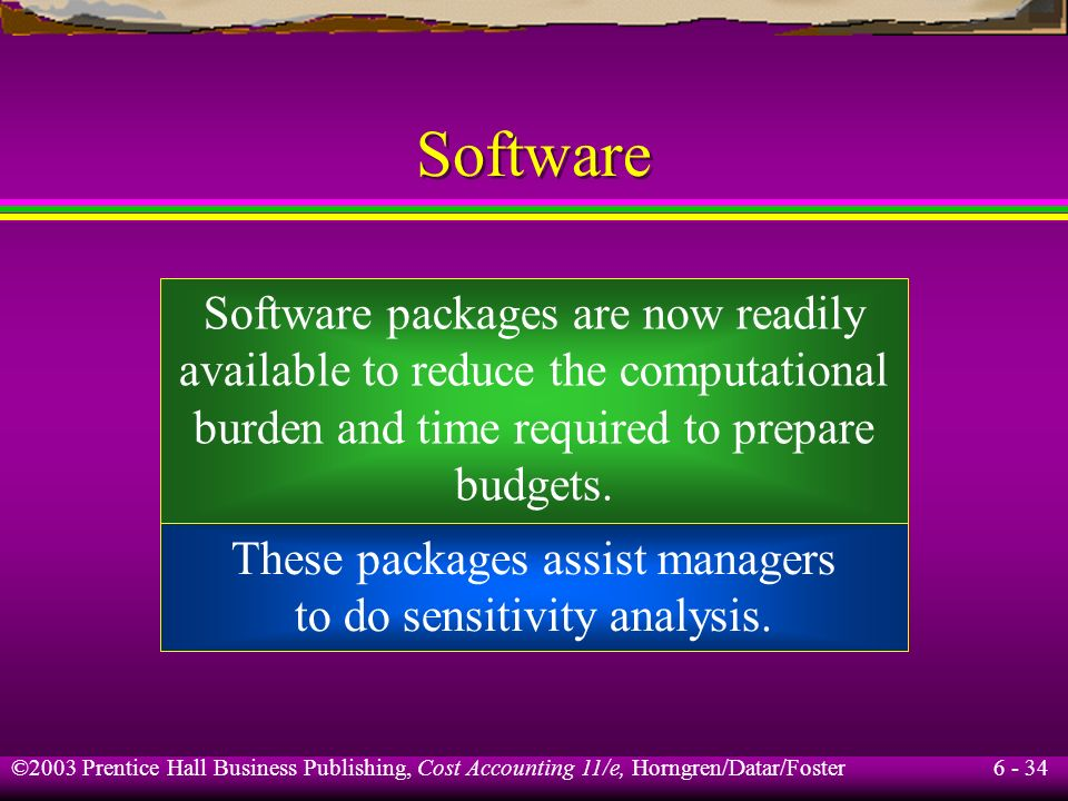 Software Software packages are now readily available to reduce the computational burden and time required to prepare budgets.
