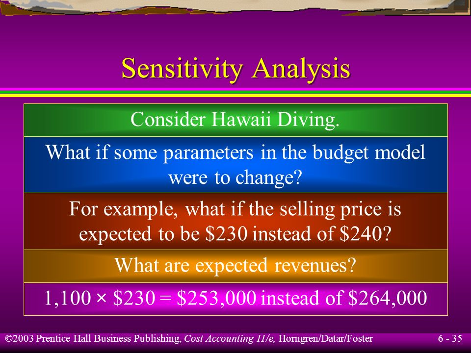 Sensitivity Analysis Consider Hawaii Diving.