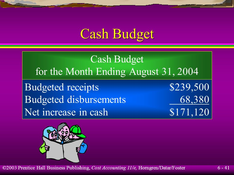 Cash Budget Cash Budget for the Month Ending August 31, 2004