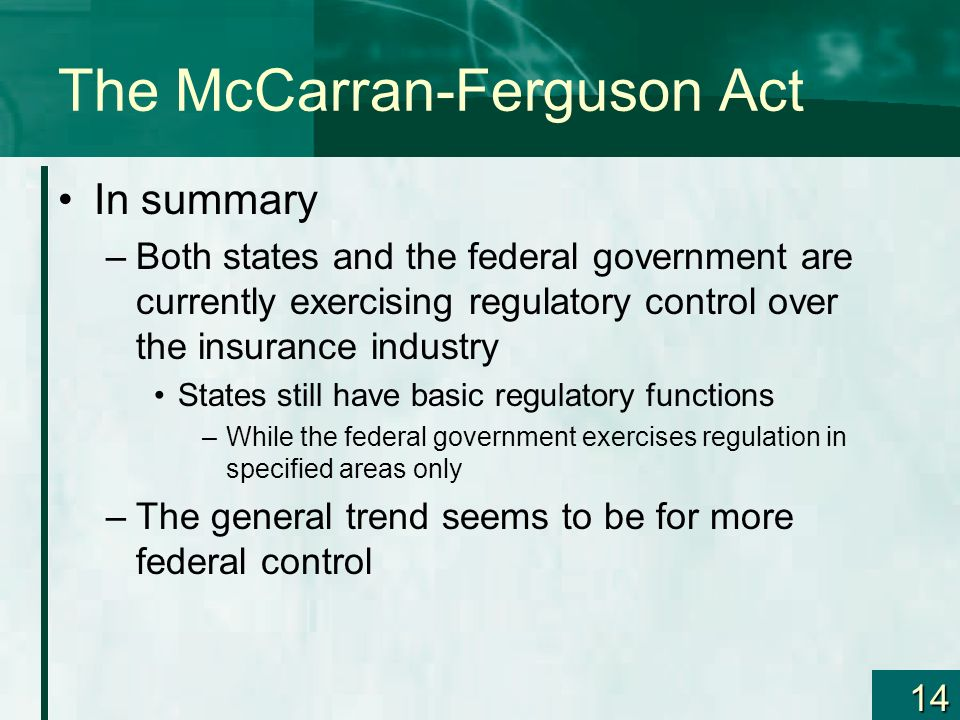 The McCarran-Ferguson Act