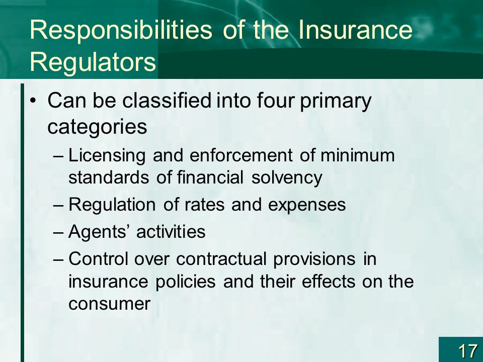 Responsibilities of the Insurance Regulators
