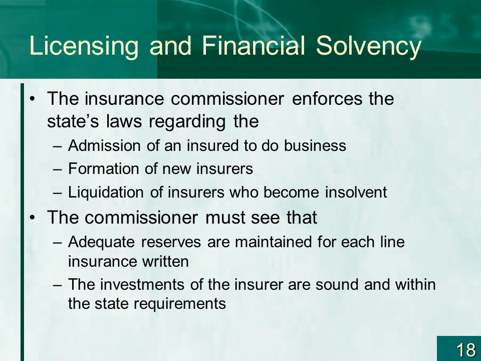 Licensing and Financial Solvency