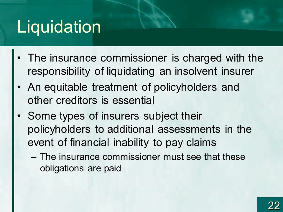 Liquidation The insurance commissioner is charged with the responsibility of liquidating an insolvent insurer.