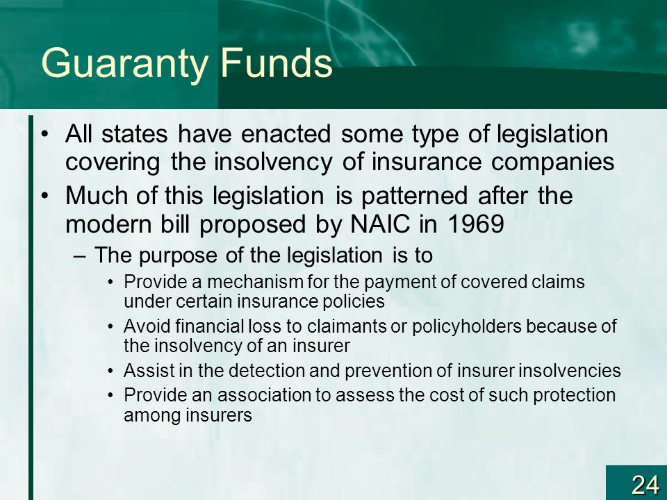 Guaranty Funds All states have enacted some type of legislation covering the insolvency of insurance companies.