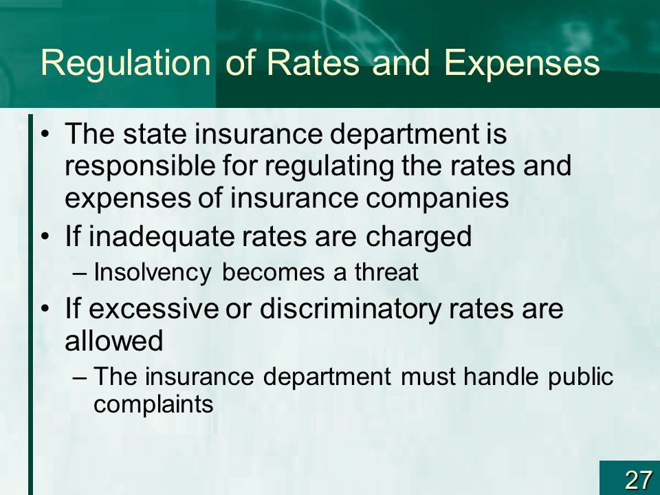 Regulation of Rates and Expenses