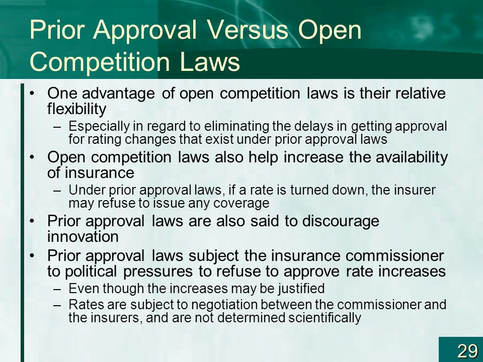 Prior Approval Versus Open Competition Laws