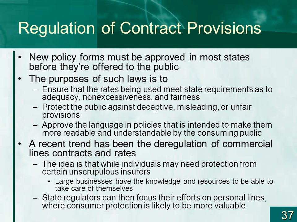 Regulation of Contract Provisions