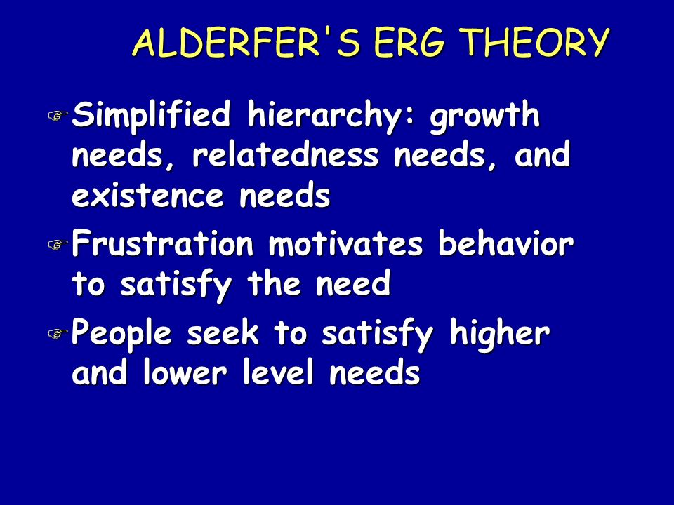 ALDERFER S ERG THEORY Simplified hierarchy: growth needs, relatedness needs, and existence needs. Frustration motivates behavior to satisfy the need.