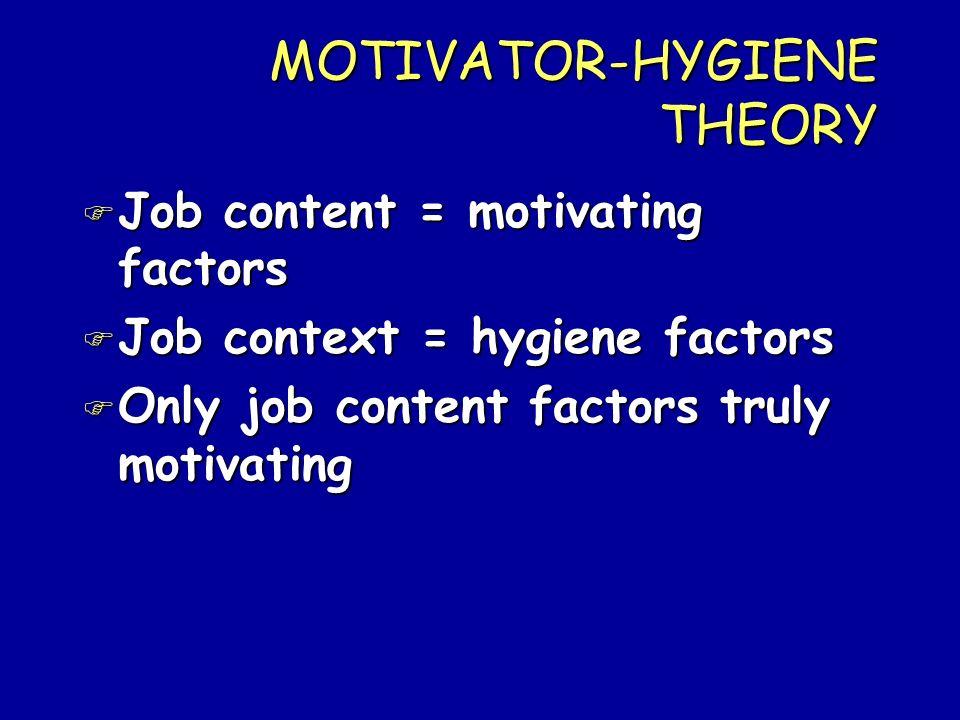 MOTIVATOR-HYGIENE THEORY
