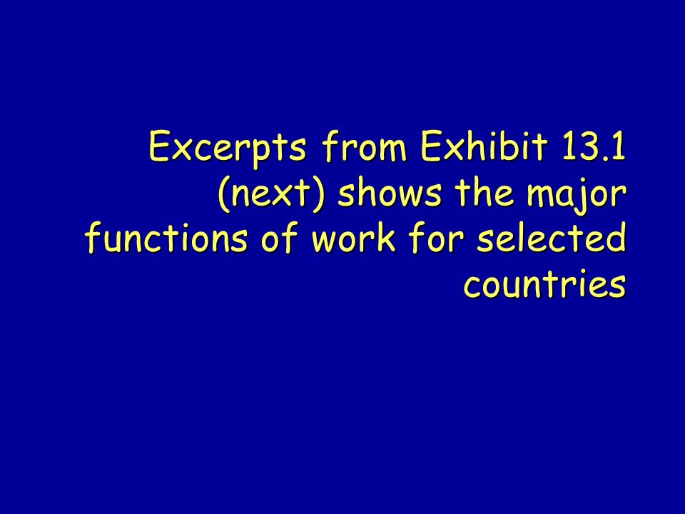 Excerpts from Exhibit 13.1 (next) shows the major functions of work for selected countries