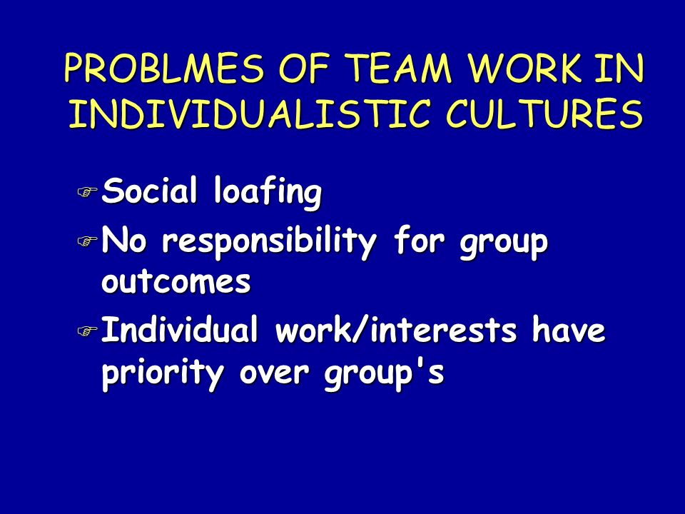PROBLMES OF TEAM WORK IN INDIVIDUALISTIC CULTURES