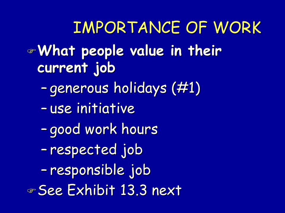 IMPORTANCE OF WORK What people value in their current job