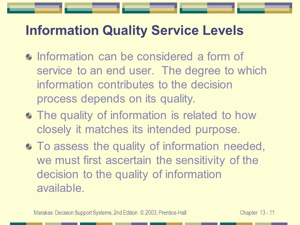 Information Quality Service Levels